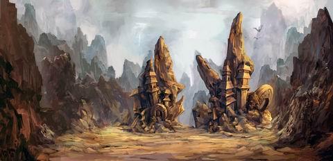 """场景原画三 【怪石嶙峋的山谷中,零散矗立的方尖塔碑似乎在诉说着曾经的辉煌。】 若用一句话来形容《聚仙》中光怪陆离的游戏世界,也唯有""""天下无奇不有尽在《聚仙》,须弥芥子全都包括有容乃大""""来比喻了。《聚仙》中风格迥异的游戏场景将会给玩家带来怎样的体验,玩家所操控的角色又会有怎样的区别,敬请期待 —— 琴棋书画斧钺钩叉《聚仙》原画职业篇! 【关于《聚仙》】 《聚仙》是GAMEBAR继《战国春秋》、《古剑奇谭》之后又一款斥巨资,由拙匠工作室苦心研发的全3D大型角色"""